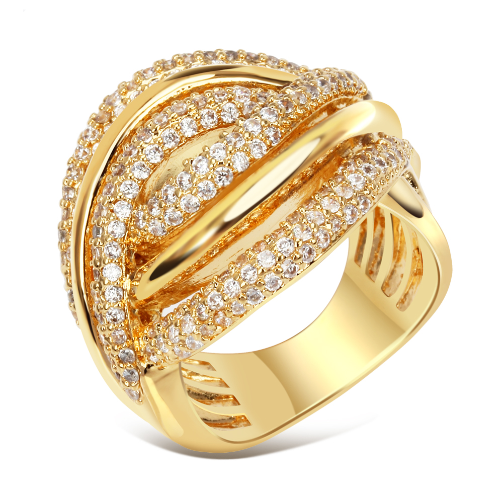 Women Trendy Rings Setting with cubic zirconia Luxury Wedding rings Free Allergy Copper ring Free Shipping