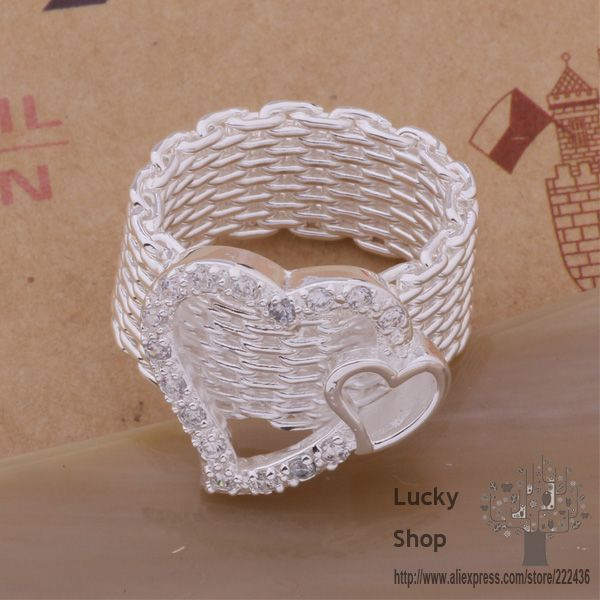 AR313 925 sterling silver ring, 925 silver fashion jewelry, double heart net /buraklya fsjaojqa