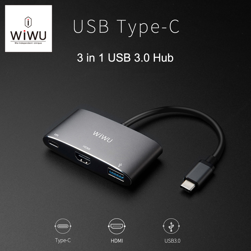 WIWU USB Tip C Hub MacBook Pro için 13 15 USB C HDMI/VGA Port 4 K Video C Tipi Adaptör için Macbook Yeni 12 Thunderbolt USB 3.0 Hub